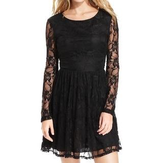 City Studio Womens Juniors Mini Dress Lace Long Sleeves - 13