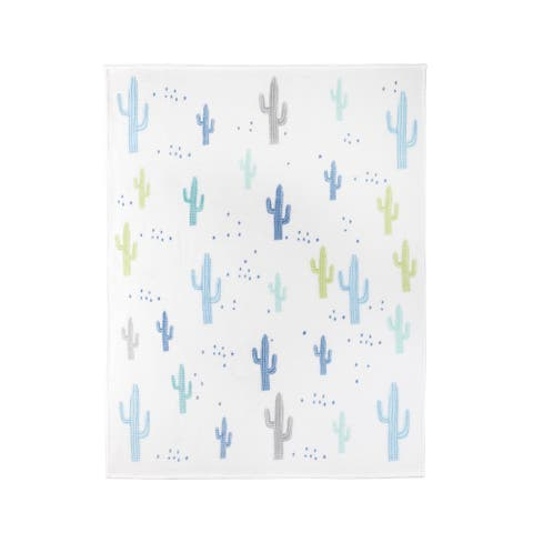 Throw Ribbed Printed Flannel Whimsical Cactus
