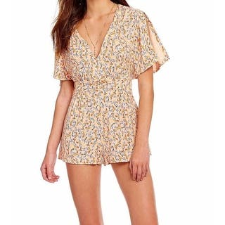 Free People NEW Orange Womens Size 4 Abstract Printed V-Neck Romper|https://ak1.ostkcdn.com/images/products/is/images/direct/ebb0386f60f67a8fd03329d7e544e5eac6170535/Free-People-NEW-Orange-Womens-Size-4-Abstract-Printed-V-Neck-Romper.jpg?impolicy=medium
