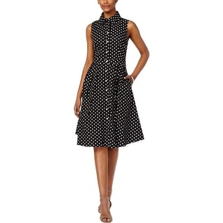 Jessica Howard Womens Petites Casual Dress Polka Dot Pleated