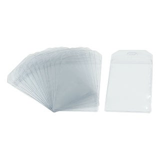"Unique Bargains 4.3"" x 2.5"" Company Clear Blue Vertical Name Card Badge Holder 14 Pcs"