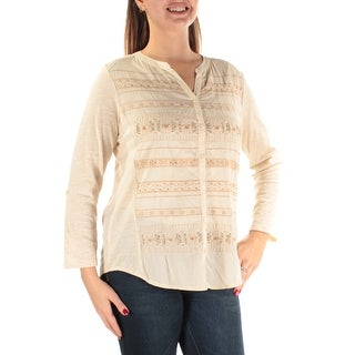 Womens Beige Long Sleeve V Neck Casual Top Size L