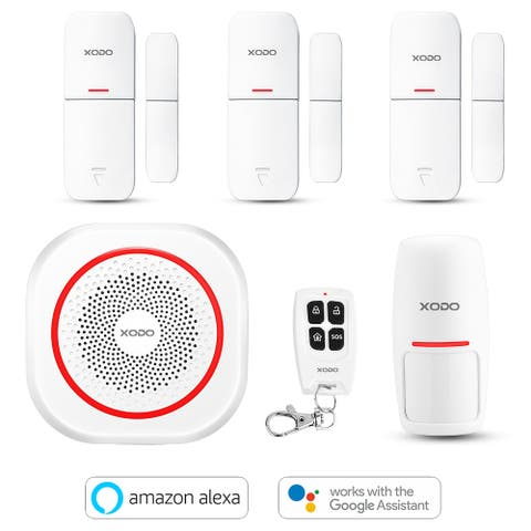 XODO PK6 Wi-Fi Smart Home Security System, Alexa & Google Assistant, PIR Motion Sensor, Door/Window Alarm Sensor, Bundle Kit