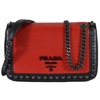 Prada 1BD147 Red Black Colorblock Leather Studded Crossbody Purse Handbag