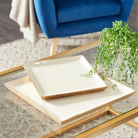 White Wood Contemporary Tray (Set of 2) - 16 x 16 x 1