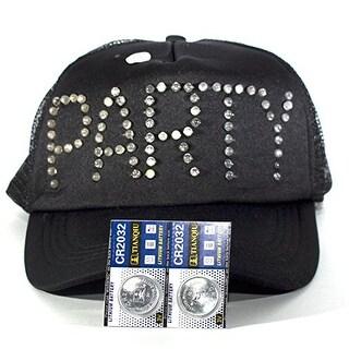 Black Trucker Hat Baseball Cap with Flashing LED Lights Blinks PARTY