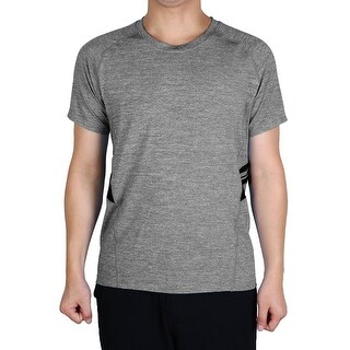 Men Polyester Short Sleeve Clothes Activewear Tee Outdoor Sports T-shirt Gray M