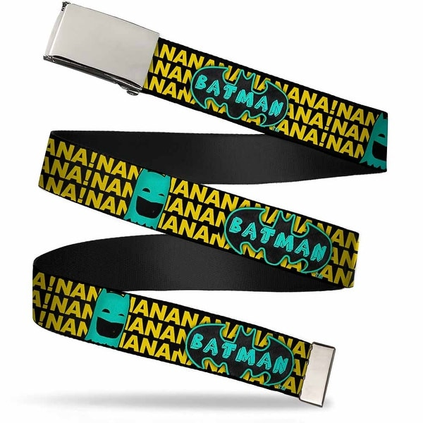 Blank Chrome Buckle Batman Face & Logo Sketch Nanana! Black Yellow Web Belt
