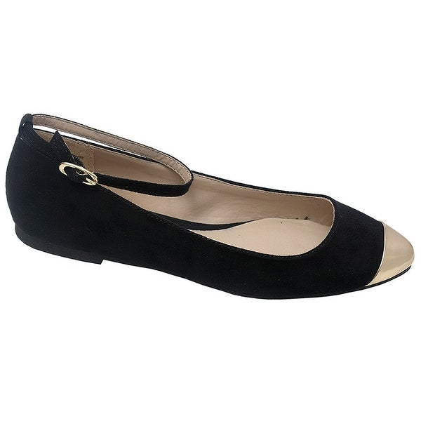 b46b75c4f170 Women  x27 s Black Faux Suede Gold Pointed Toe Ankle Strap Dress Shoes 5.5