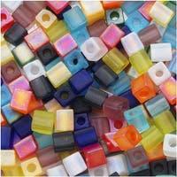 Miyuki 4mm Glass Cube Bead Mix 'Matte Transparent Rainbow' 10 Grams