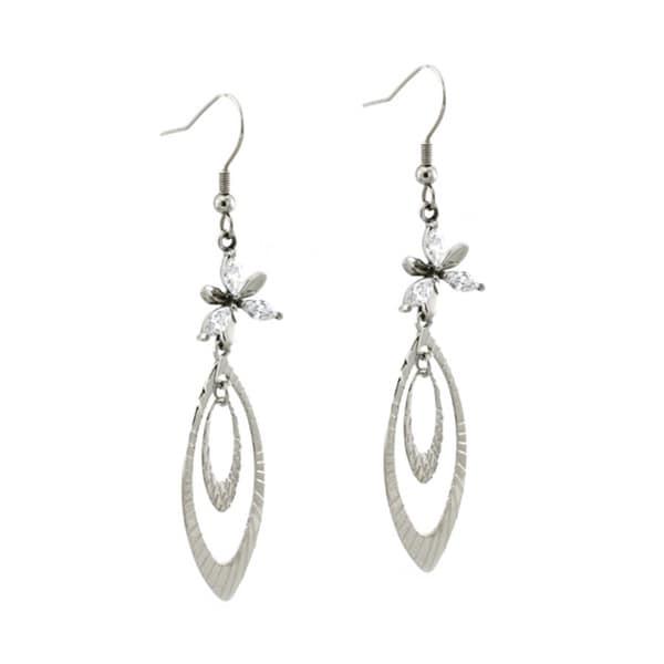 Stainless Steel Floral Dangle Leaf Earrings