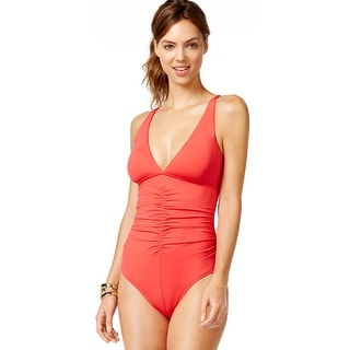 Calvin Klein Ruched Womens One-Piece Swimsuit Pink Solid Size 6