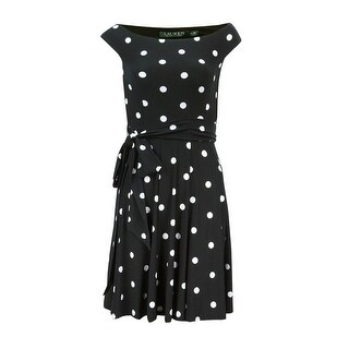 Lauren Ralph Lauren Women's Petite Belted Polka Dotted Dress