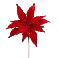 """Club Pack of 12 Red Poinsettia Decorative Christmas Craft Picks 12"""""""
