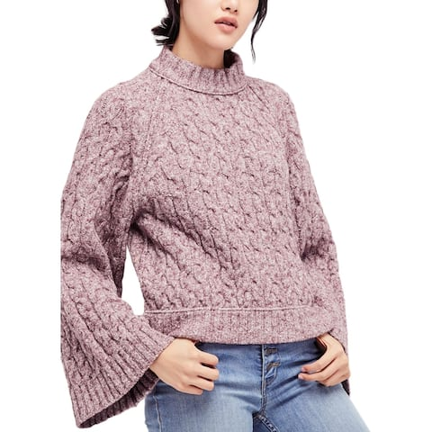 Free People Womens Snow Bird Turtleneck Sweater Snowbird Cable Knit