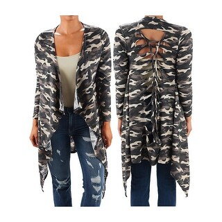 Funfash Women Camo Black Kimono Duster Cardigan Long Sweater Jacket