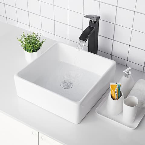 Vitreous China Square Bathroom Vessel Sink