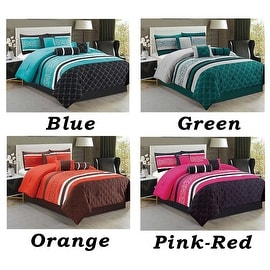 7 PC Comforter Set Queen Size Floral Modern Style with Bed Skirt Pillow Shams Square Pallow Breakfast Cushion Neck Roll