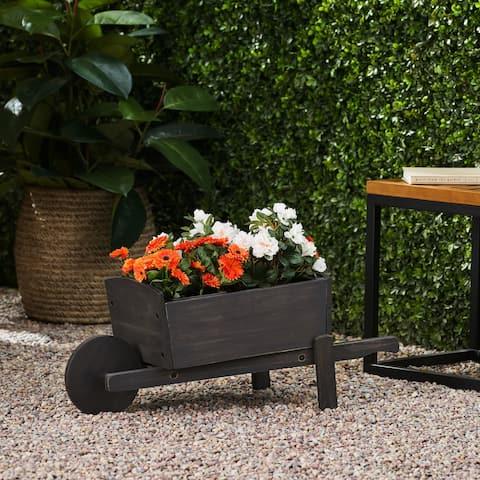 Soledad Outdoor Acacia Wood Outdoor Wheelbarrow Planter by Christopher Knight Home