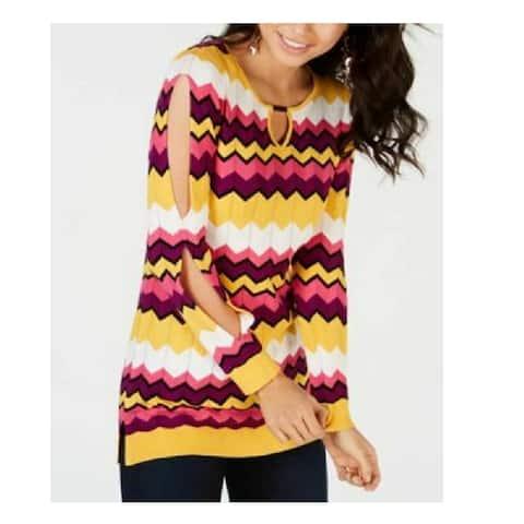Thalia Sodi Women's Chevron Multi-Stripe Tunic Sweater Multi Size Medium
