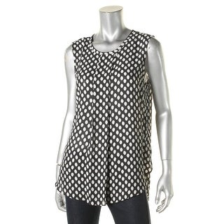 Vince Camuto Womens Tank Top Printed Pleated