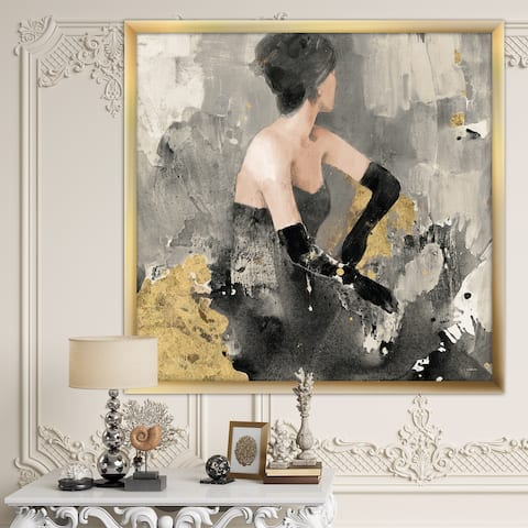 Designart 'Gold Fashion Dance' Traditional Premium Framed Art Print