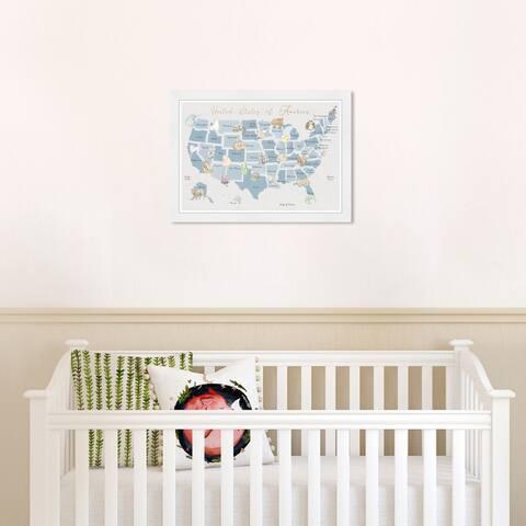 Olivia's Easel 'Wildlife Map II' Kids Wall Art Framed Print Blue,White