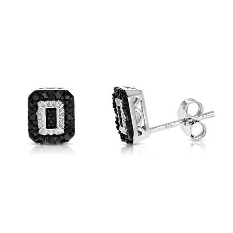 1/8 cttw Black Diamond Earrings in .925 Sterling Silver Push Backs Emerald Shape