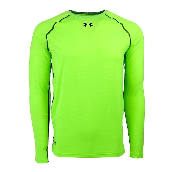 2e0622c54 Shop Under Armour Men's HeatGear Sonic Printed LS Compression Shirt - hyper  green/black - Free Shipping On Orders Over $45 - Overstock - 23548218