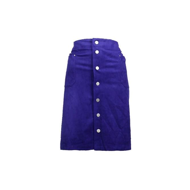 Inc International Concepts Plus Size Blue Snap-Front A-Line Skirt 20W