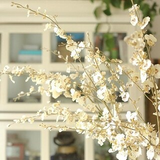 """G Home Collection Rustic Dancing Lady Orchid Stem in White 43"""" Tall"""