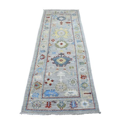 """Shahbanu Rugs Hand Knotted Gray Oushak with Soft Colors Pure Wool Oriental Runner Rug (2'8"""" x 7'9"""") - 2'8"""" x 7'9"""""""