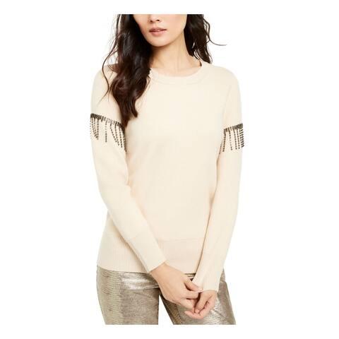 ALFANI Womens Beige Fringed Solid Long Sleeve Jewel Neck Top Size XL