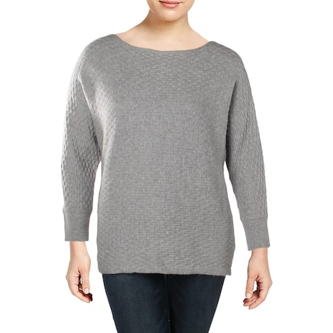 Vince Camuto Womens Plus Pullover Sweater Wide Neck Basket Weave Pattern