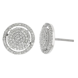 12mm Wide Diamond Fashion Earrings Extra Large Halo Style Cluster Screw Back Studs 0.60ctw Silver (i2/i3, I/j) - White