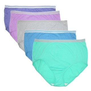 Fruit of the Loom Women's Plus Size Heathered Briefs Underwear (5 Pair Pack)