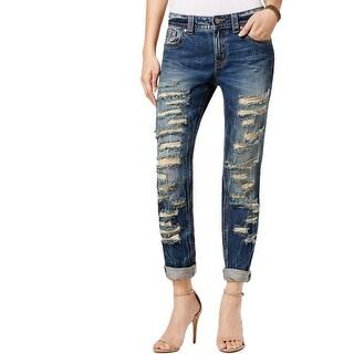 Miss Me Womens Boyfriend Jeans Destroyed Straight Leg - 28