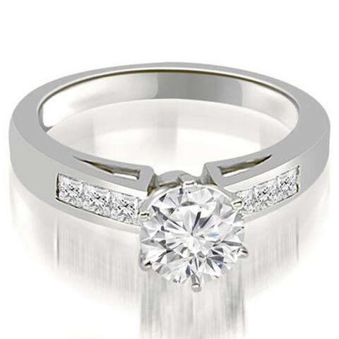 1.30 CT Channel Set Princess Cut Diamond Engagement Ring in 14KT Gold - White H-I
