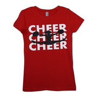 "Girls Red ""Cheer"" Writing Cheerleader Print Cotton T-Shirt"