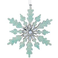 """5"""" Snowy Winter Rounded Edge Glittered Aqua and Silver Snowflake with Jeweled Center Christmas Ornament - BLue"""