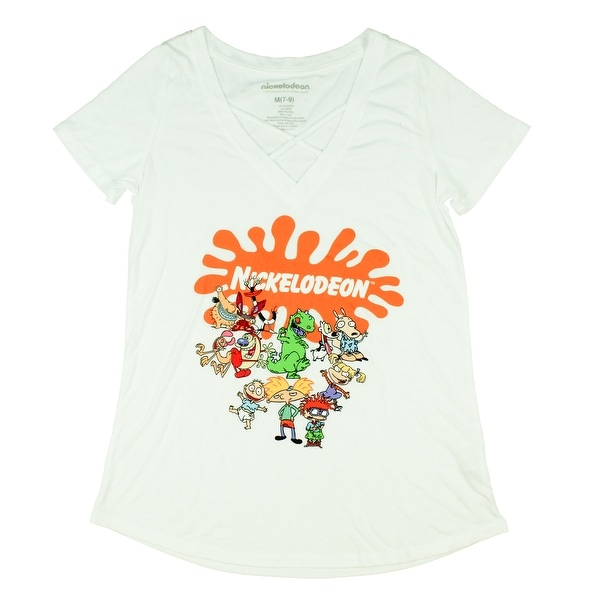 Nickelodeon Junior's Logo Character Collage Criss Cross Neck T-Shirt. Opens flyout.