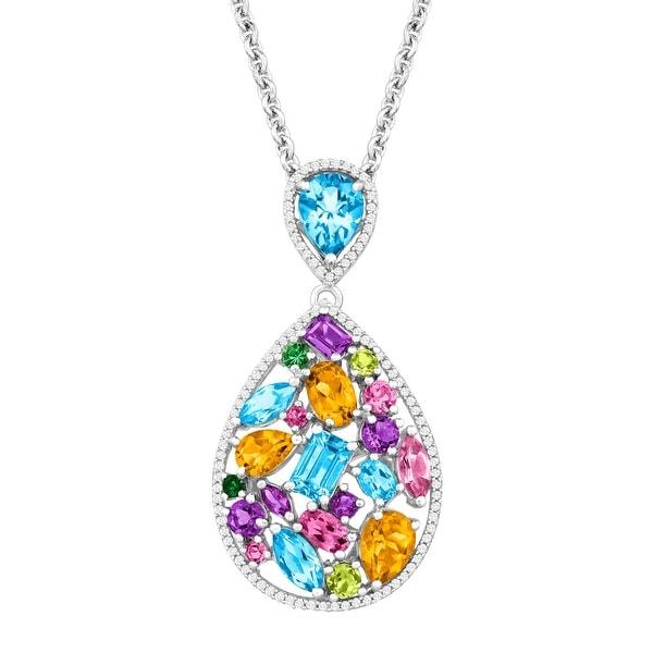 Multi Natural Semi-Precious Gemstone & 1/3 ct Diamond Pendant in Sterling Silver