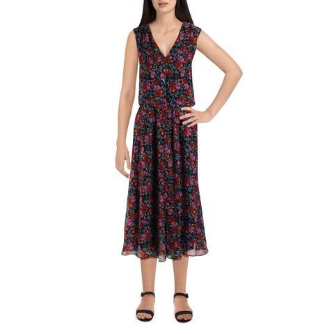 Donna Ricco Womens Shirtdress Chiffon Sleeveless - Black Multi