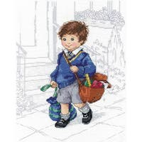 """School Boy Counted Cross Stitch Kit-8""""X10"""" 14 Count"""