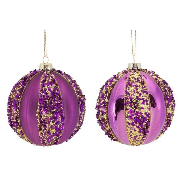 """12ct Purple with Gold Sequins Glass Christmas Ball Ornaments 4"""" (100mm)"""