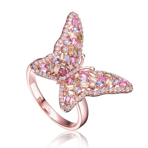 Collette Z Rose Gold Plated Multi Color Cubic Zirconia Butterfly Ring