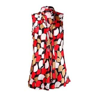 Nine West Women's Printed Tie Neck Sleeveless Blouse