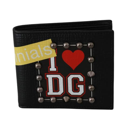 Dolce & Gabbana 100% Leather Black Mens Bifold I Love DG Studs Men's Wallet - one-size