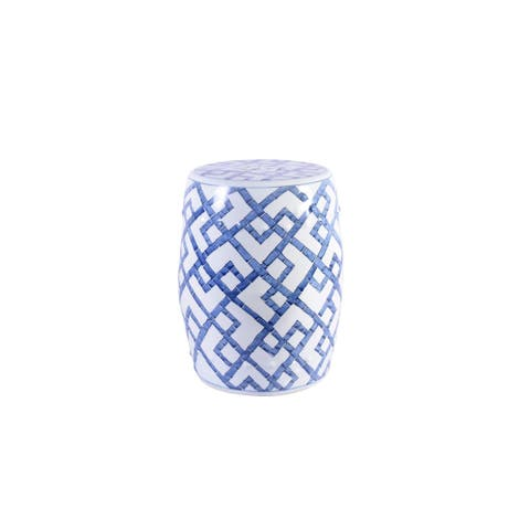 Handmade Blue and White Bamboo Joints Garden Stool