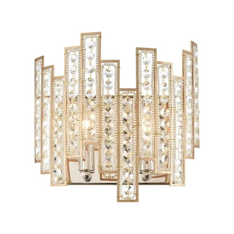 Two Light Geometric Wall Sconce with Glass Beads and Clear Crystal Strips Matte Gold/Polished